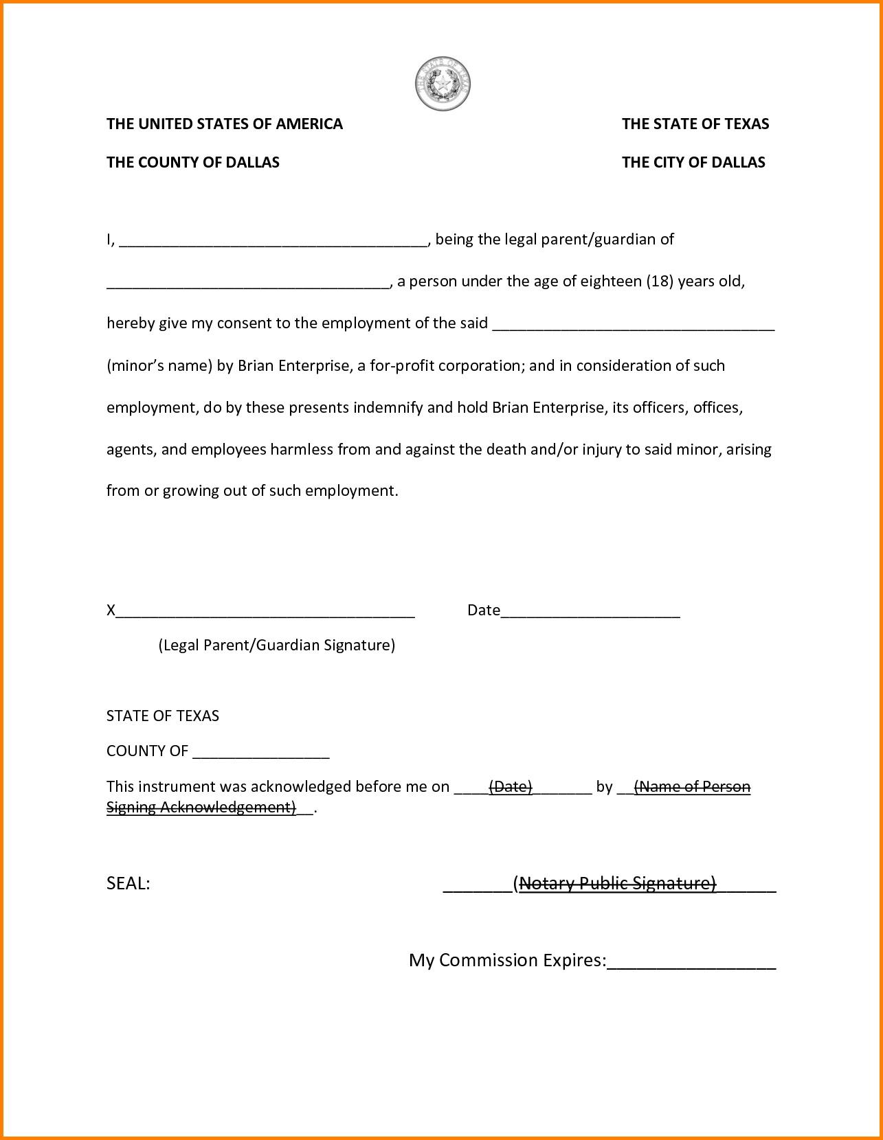 Notary Public Signature Line Template