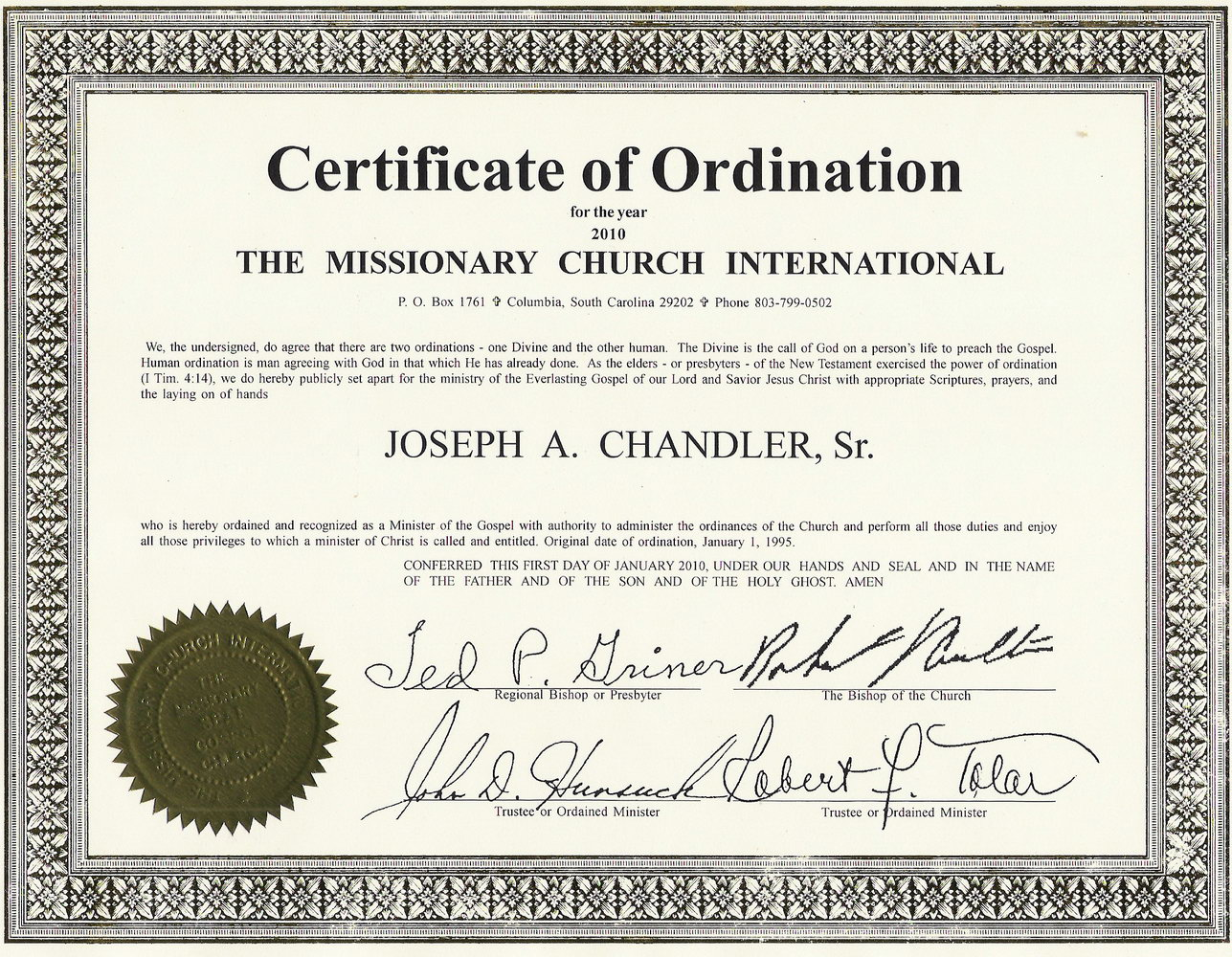 Ordination Certificate Template Free