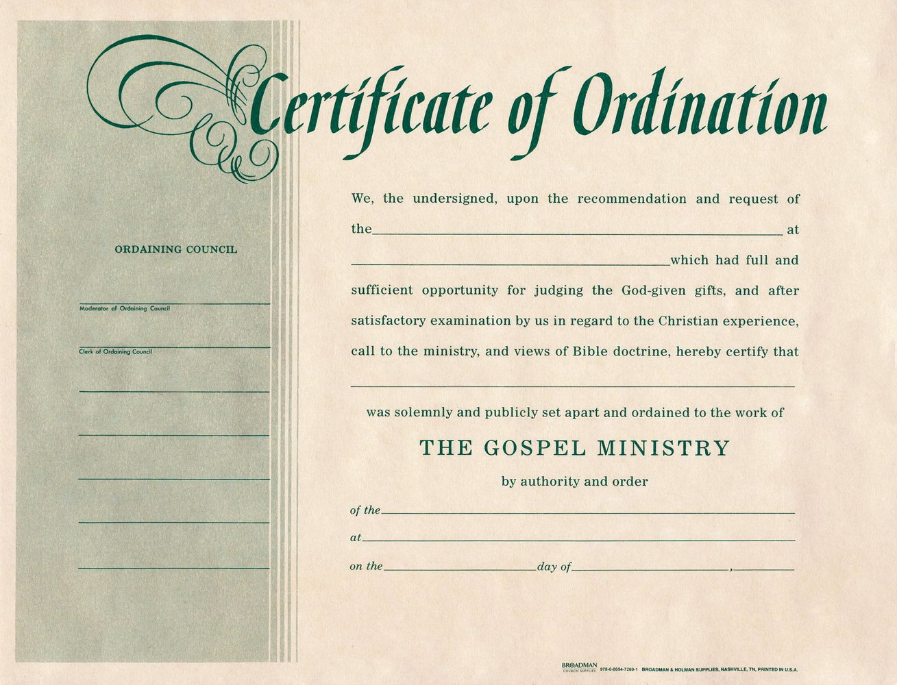 Ordination Certificate Template