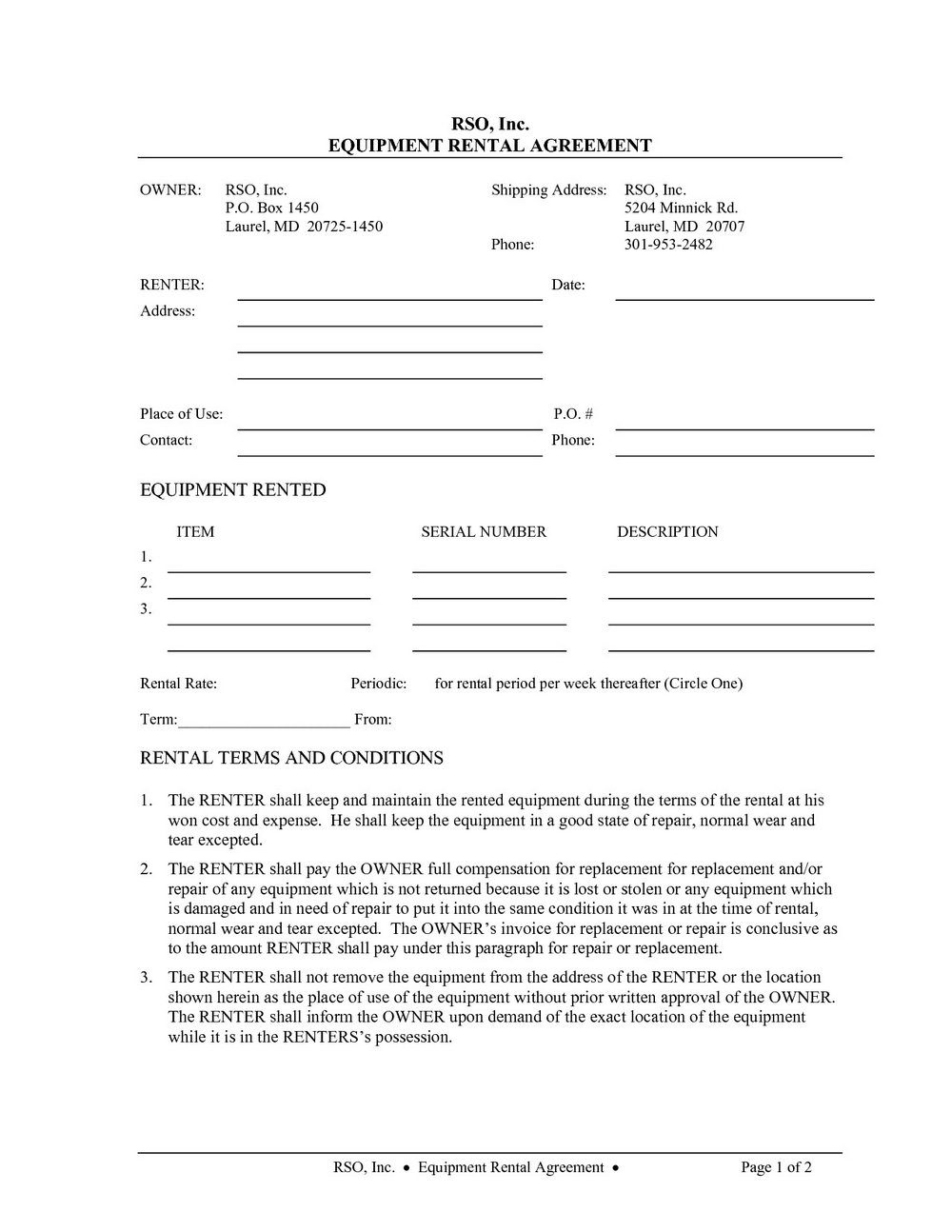 Party Equipment Rental Contract Template
