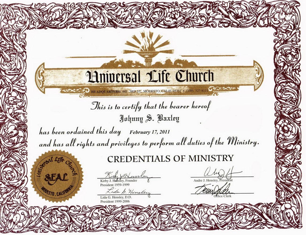 Pastor Ordination Certificate Template
