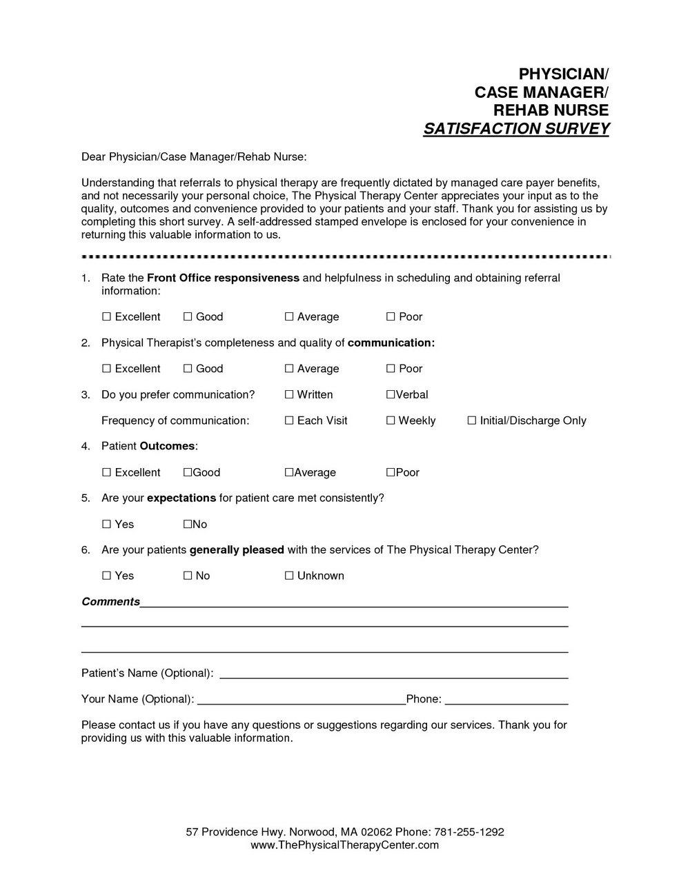 Patient Satisfaction Survey Template Nhs