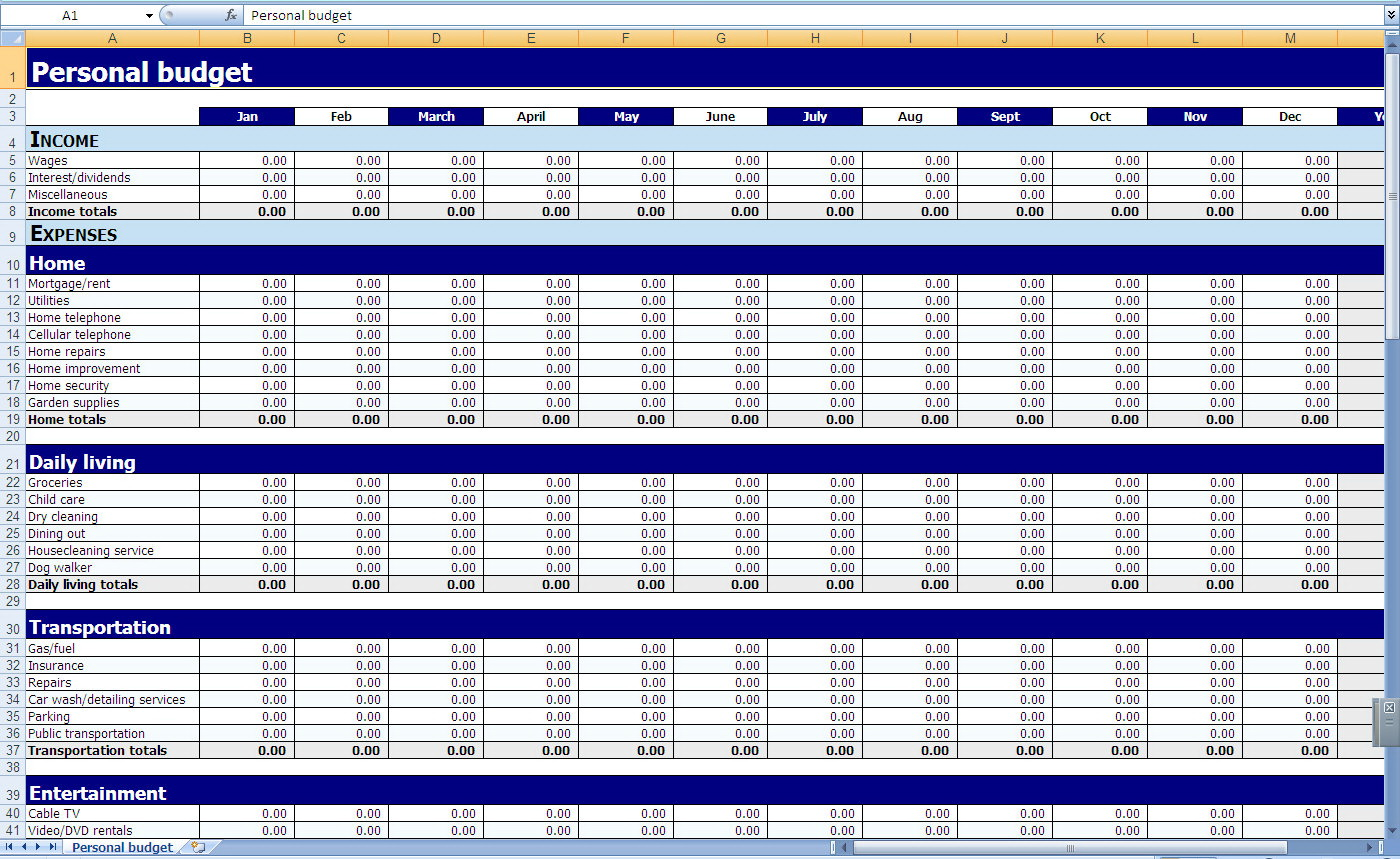 Personal Financial Spreadsheet Template