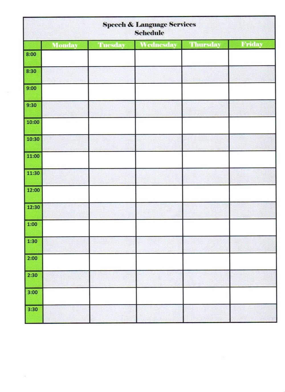 Preschool Class Schedule Template