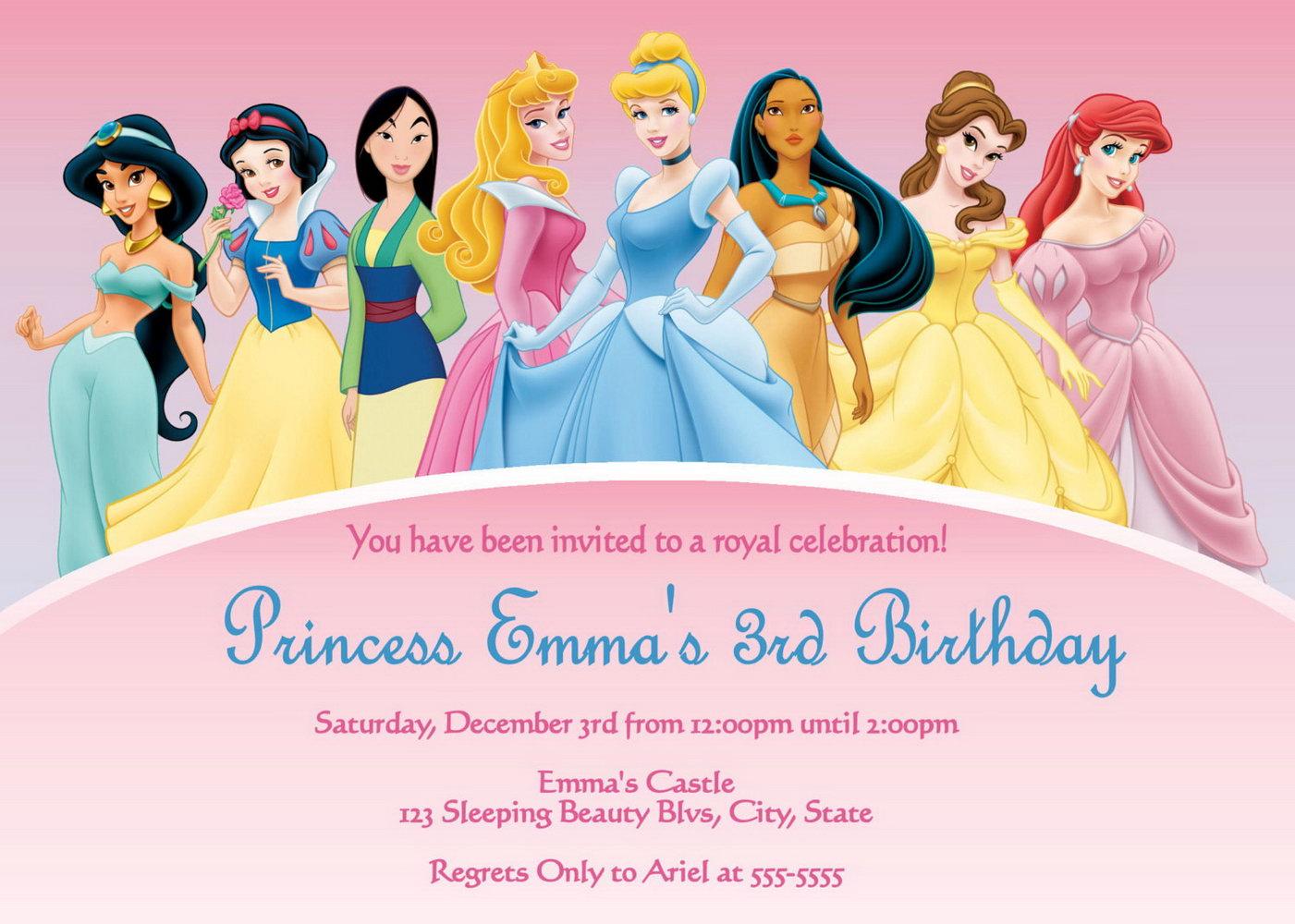 Princess Birthday Invitations Template Free
