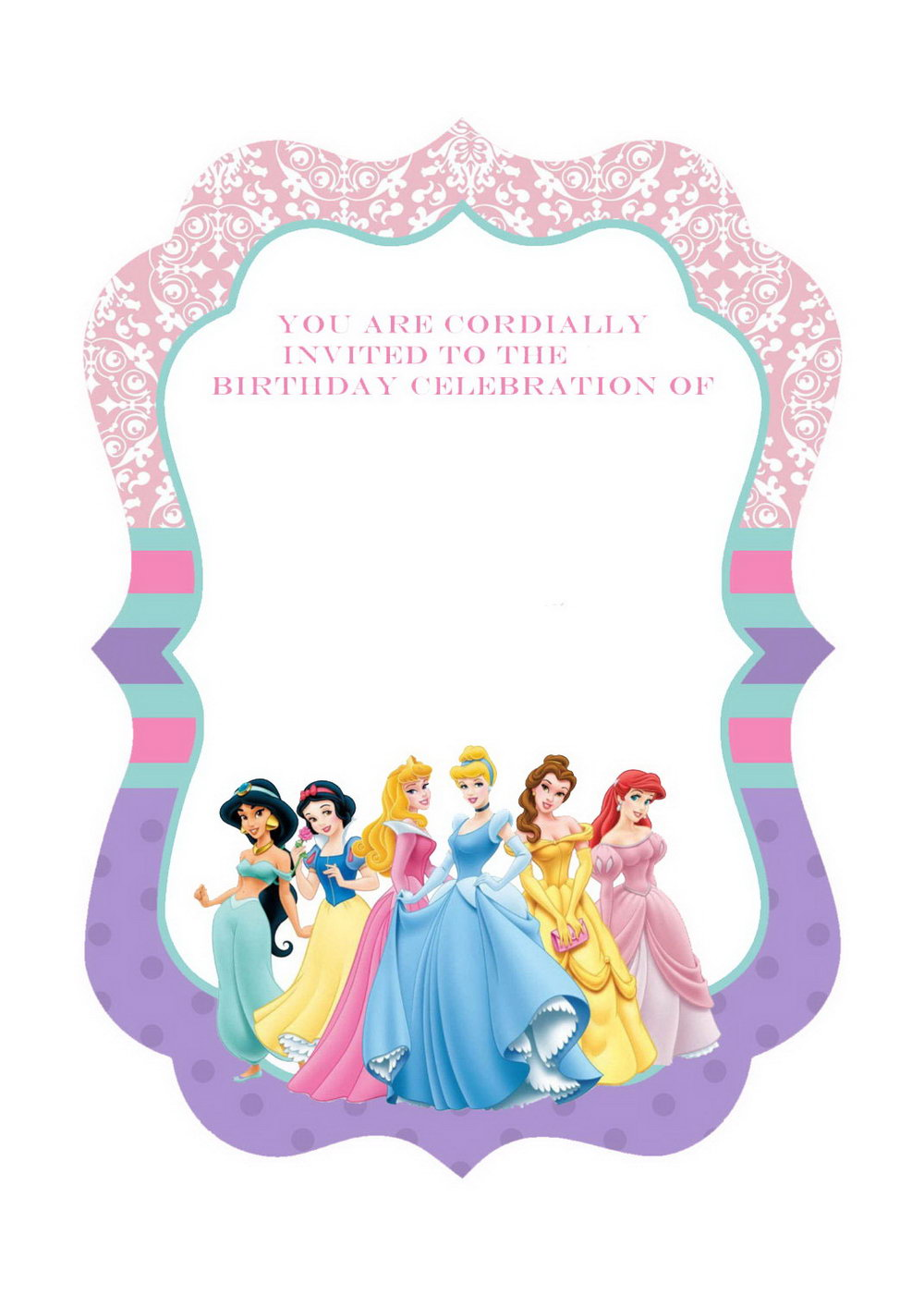 Princess Party Invitations Templates Free