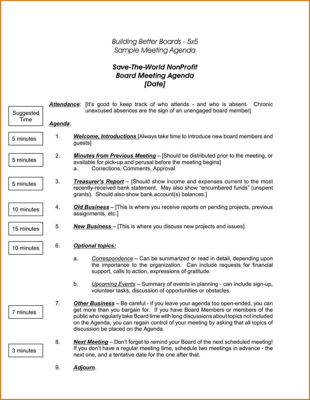 Printable Non Profit Board Meeting Minutes Template