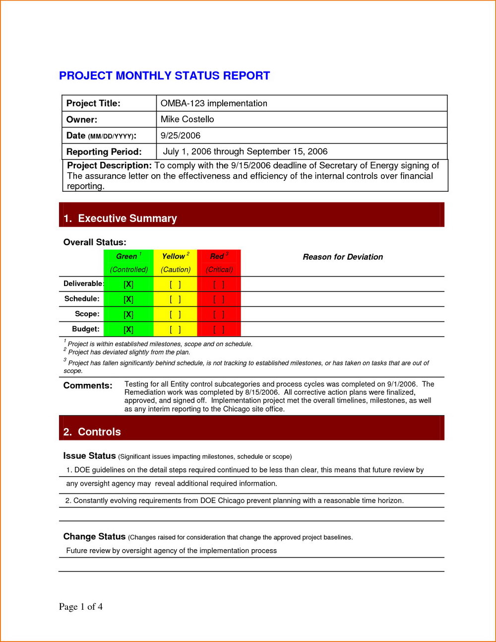 Project Management Monthly Status Report Template