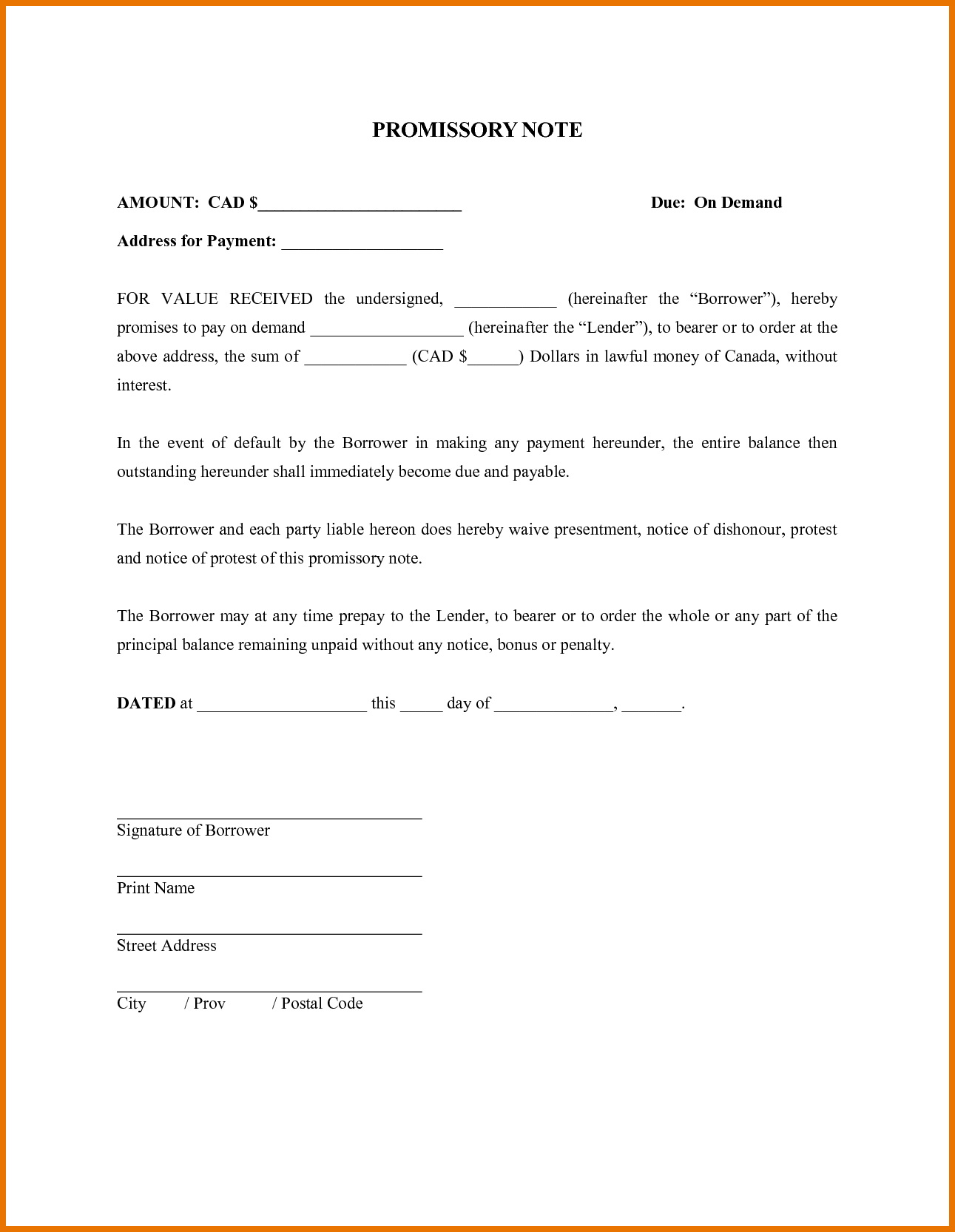 Promissory Note Template Free Download
