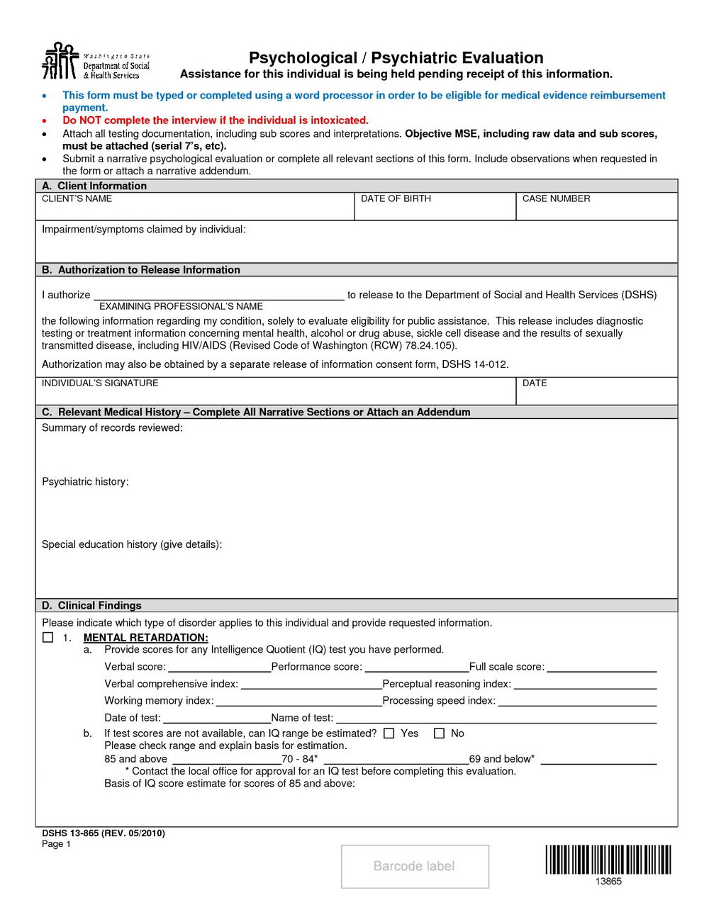 Psychiatric Evaluation Form Template