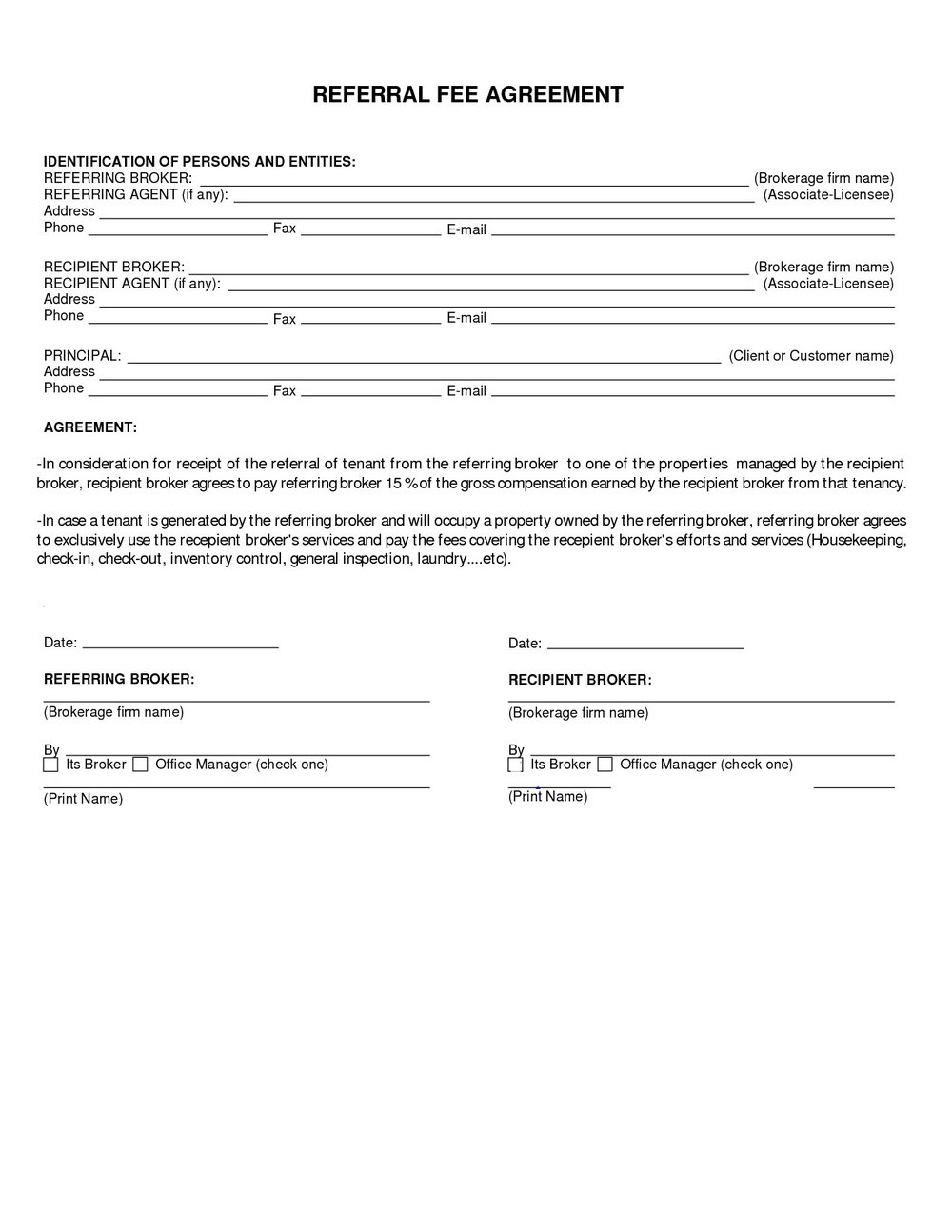 Referral Commission Agreement Template