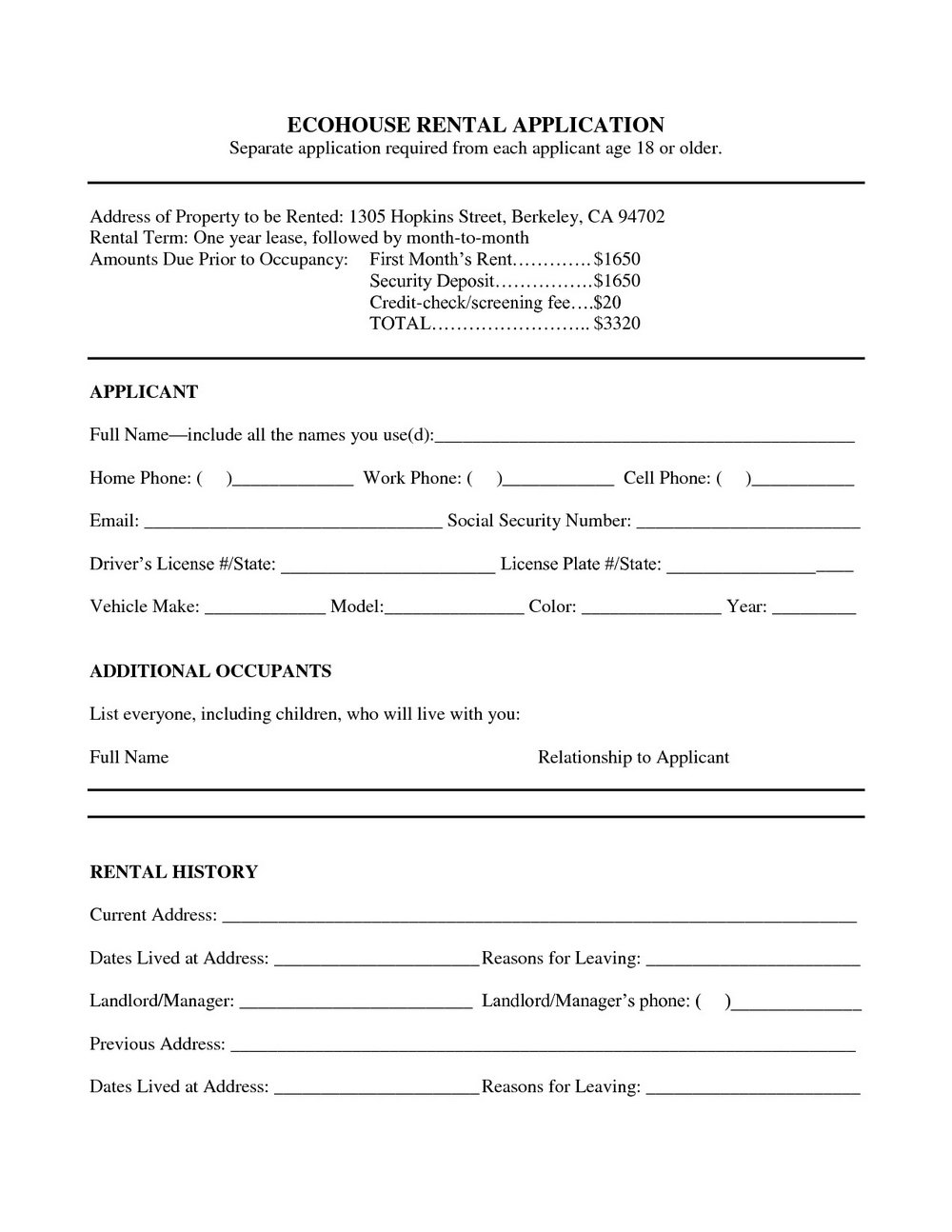 Rental Application Form Template Word