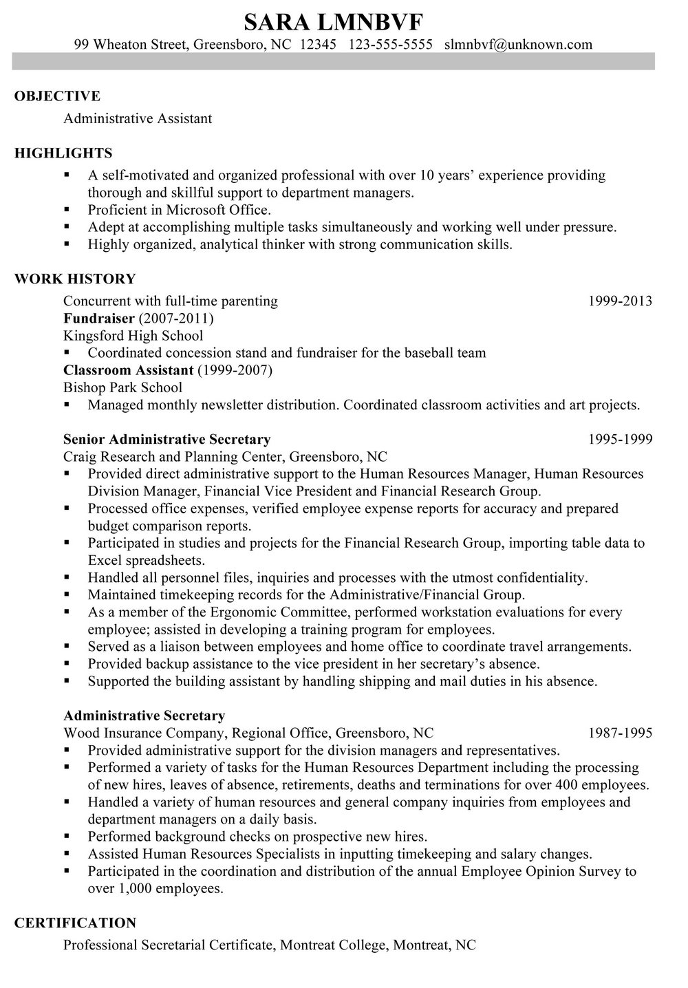 Resume Chronological Template