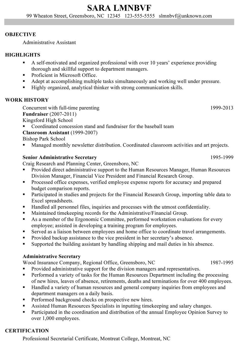 Resume Chronological Template
