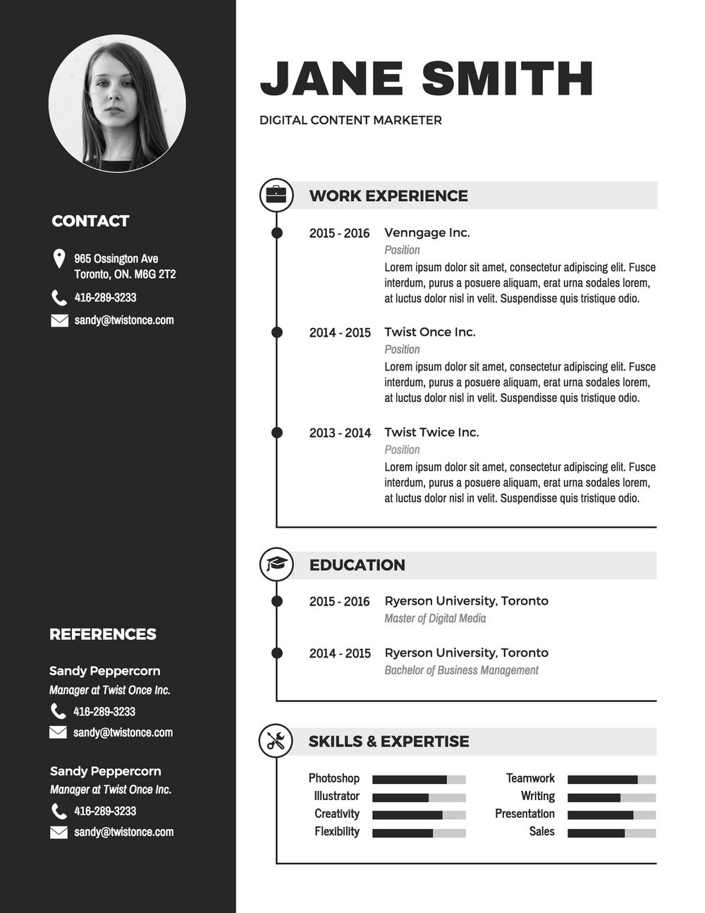 Resume Infographic Template Word