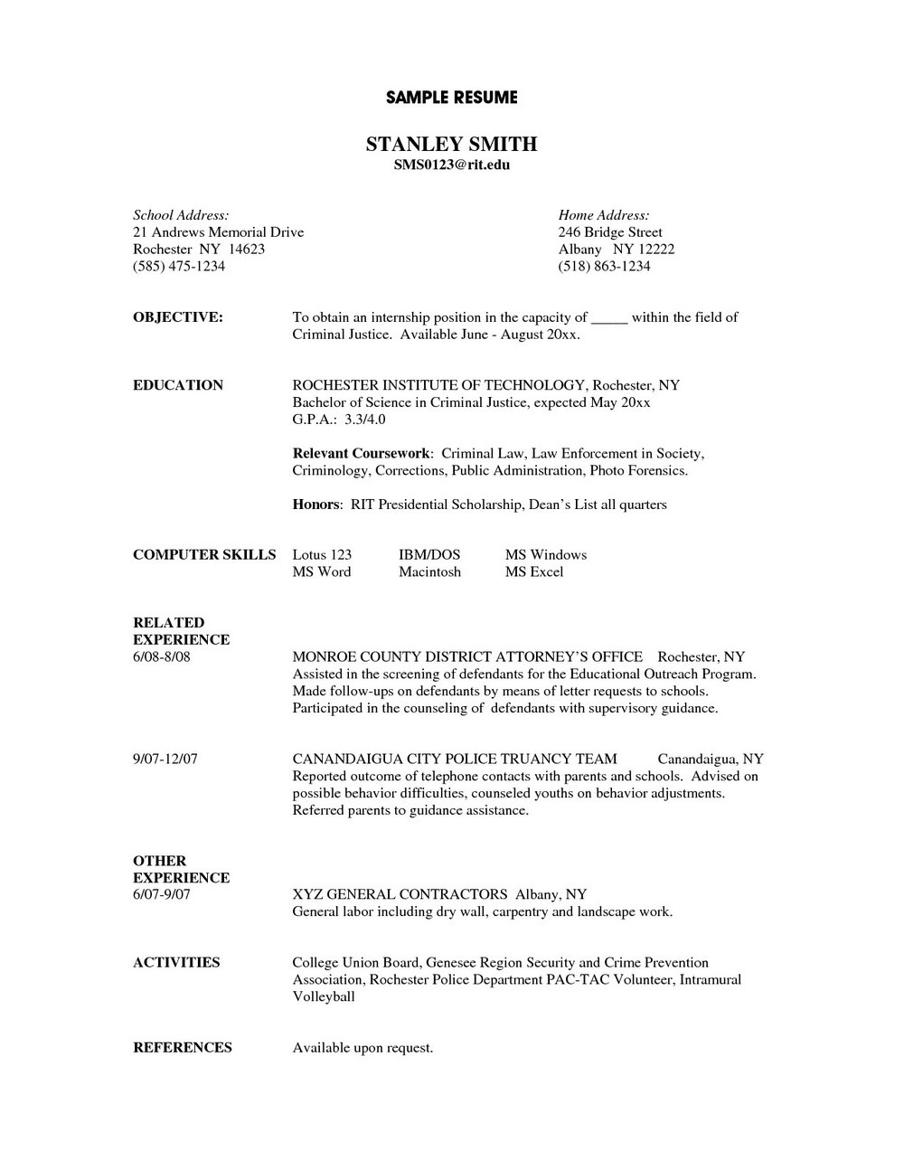 Resume Template For Laborer