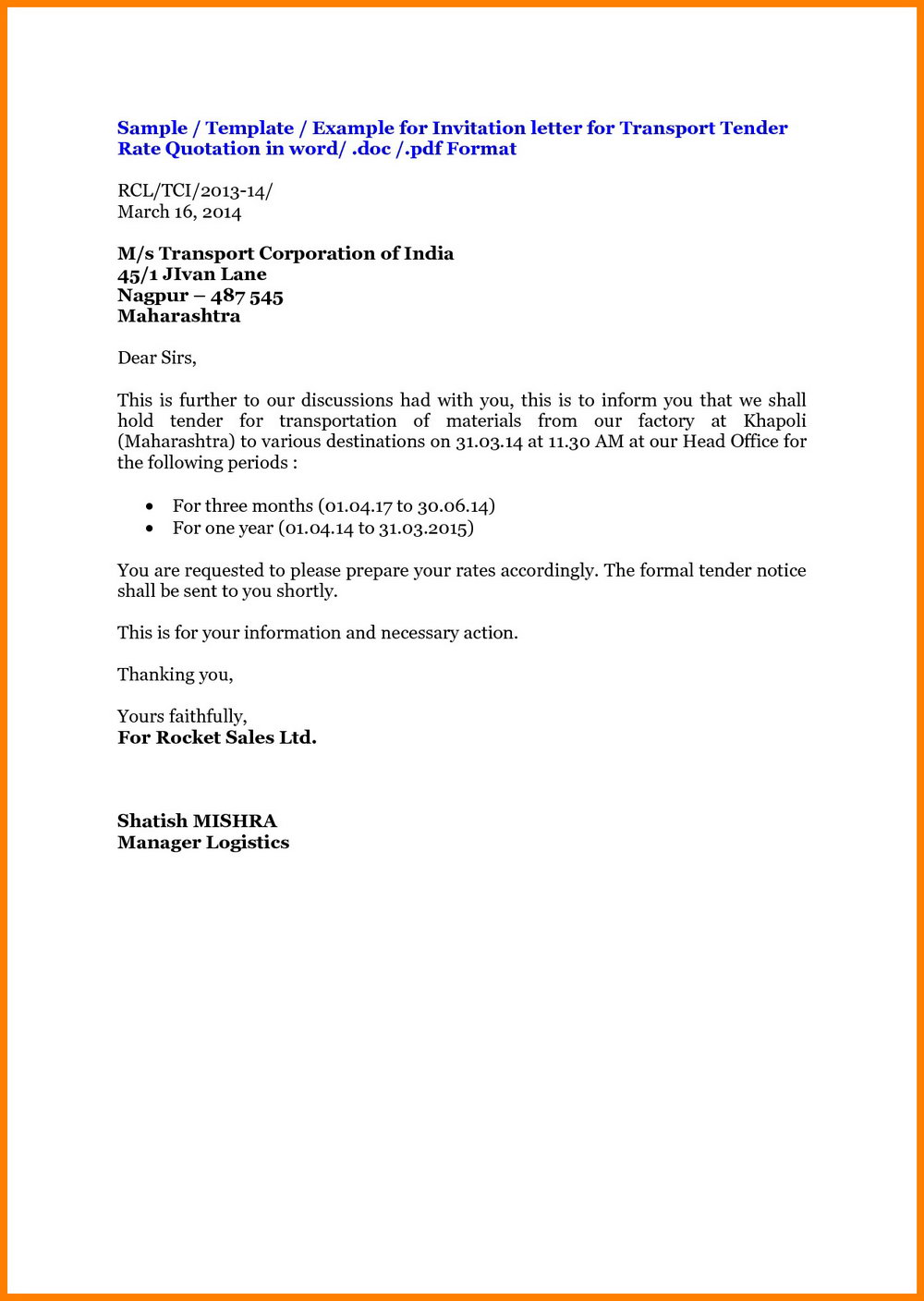 Sample Request For Quotation Email Template