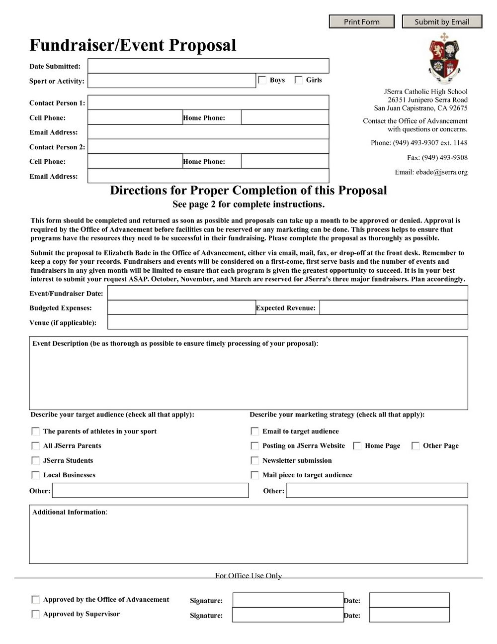 School Fundraising Proposal Template