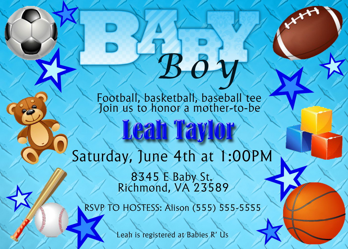 Sports Baby Shower Invitations Templates