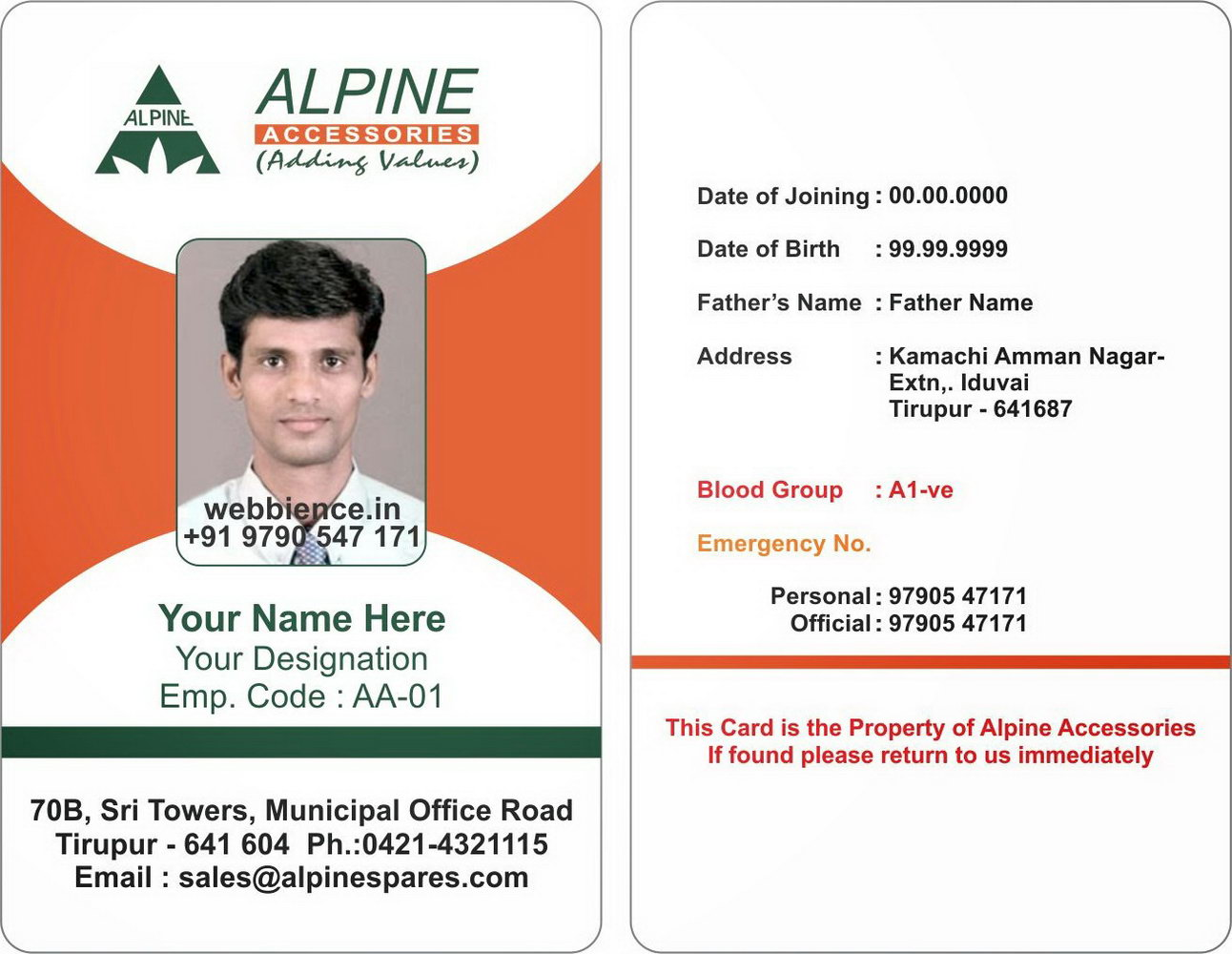 Staff Id Badge Template