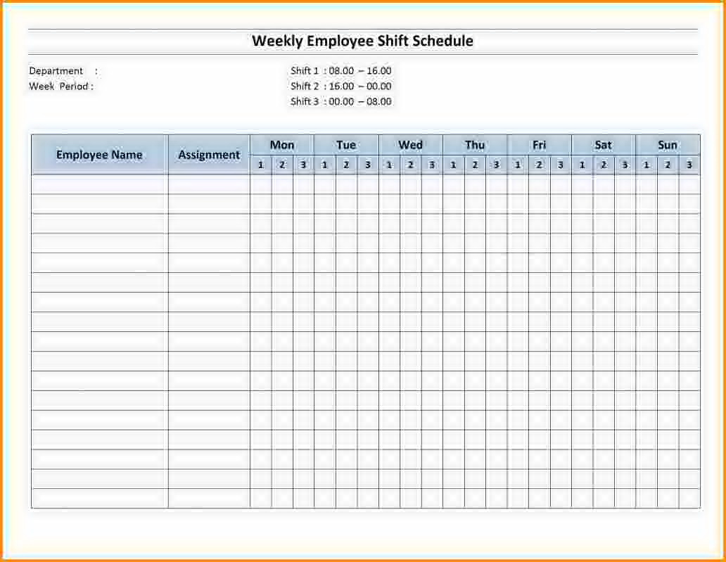 Staff Shift Schedule Excel Template