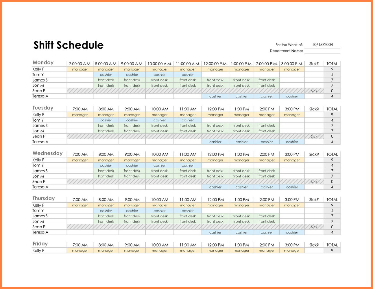 Staffing Schedule Employee Schedule Template