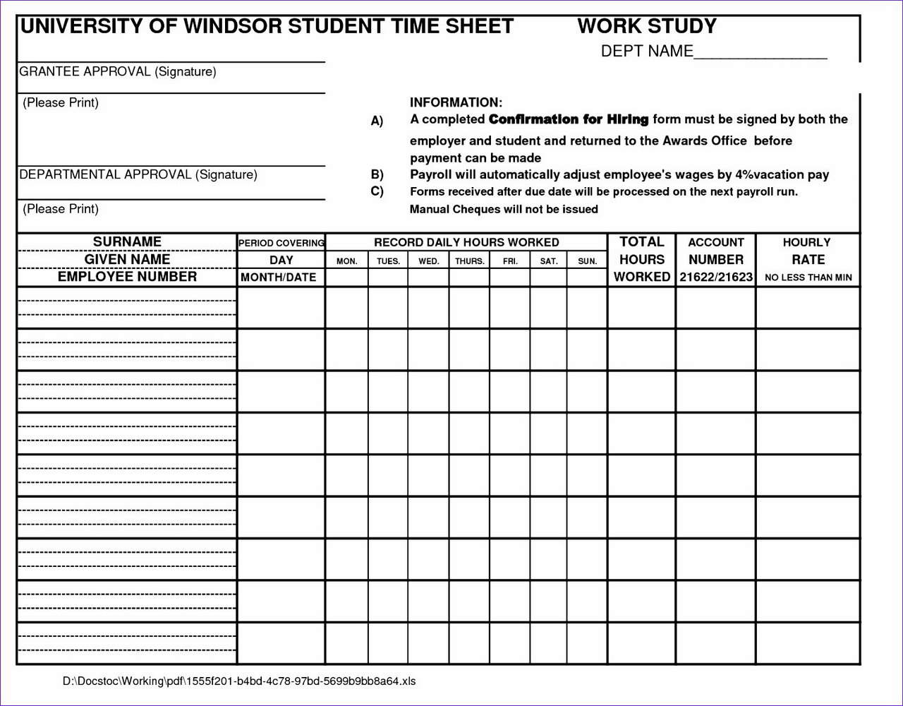 Time And Motion Study Template Excel Free Download
