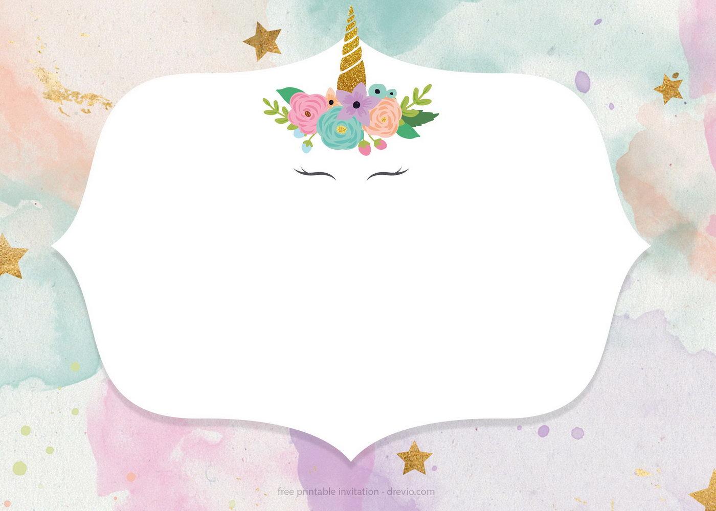 Unicorn Birthday Invitation Templates Free