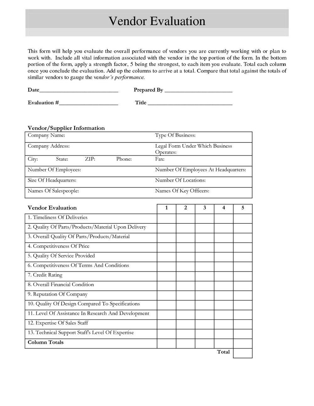 Vendor Risk Assessment Template Excel