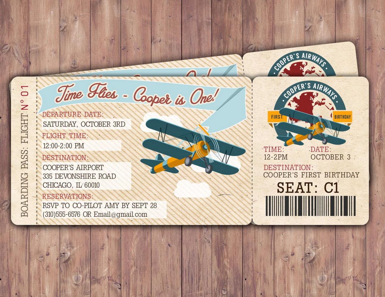 Vintage Airplane Invitation Template