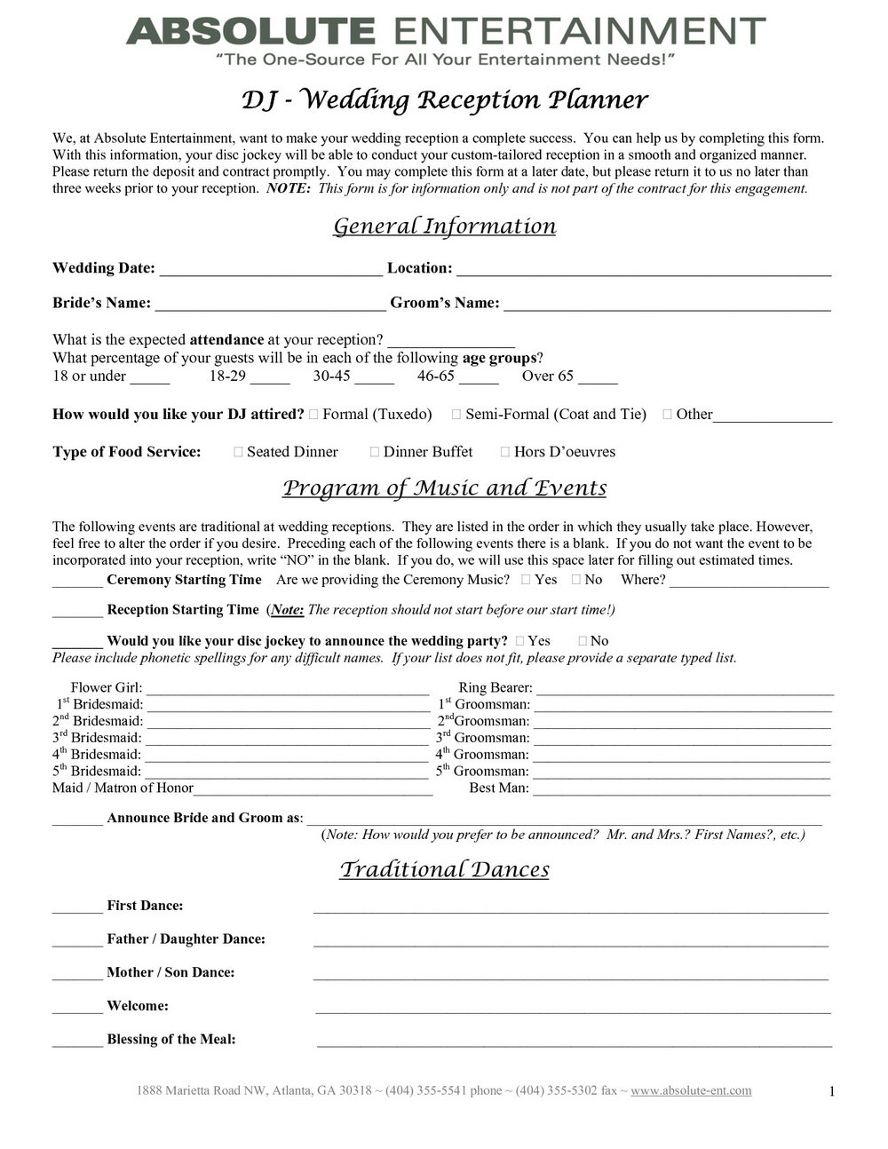 Wedding Planner Contract Template