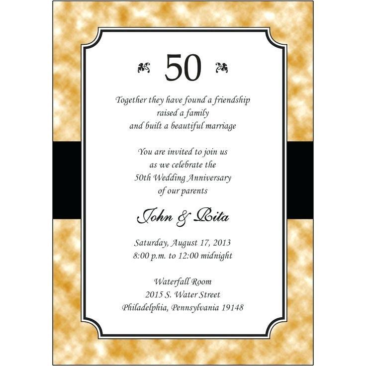 50th Anniversary Invites Templates Free