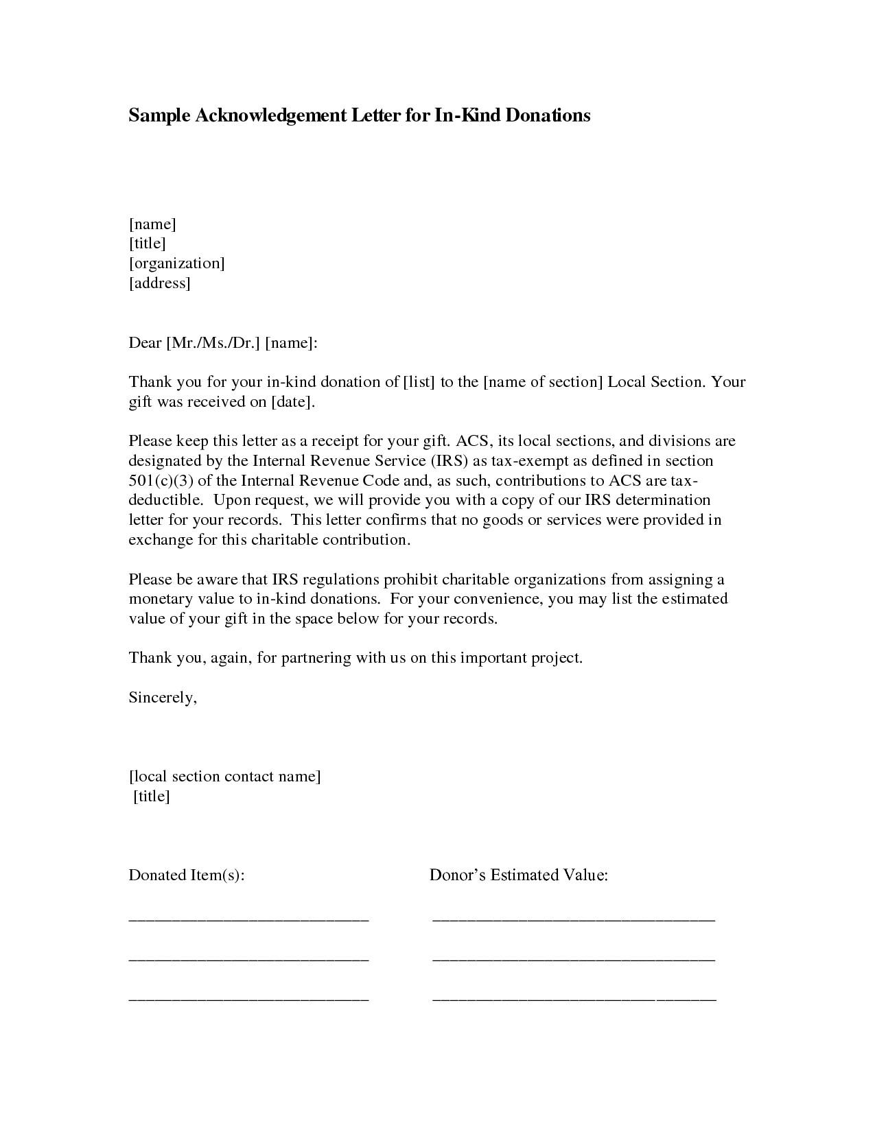 Acknowledgement Of Donation Letter Template