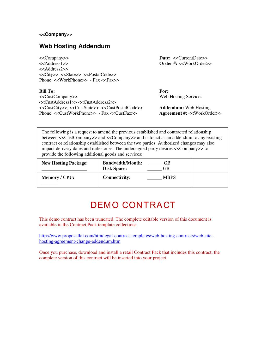 Addendum Template For Contract Agreement