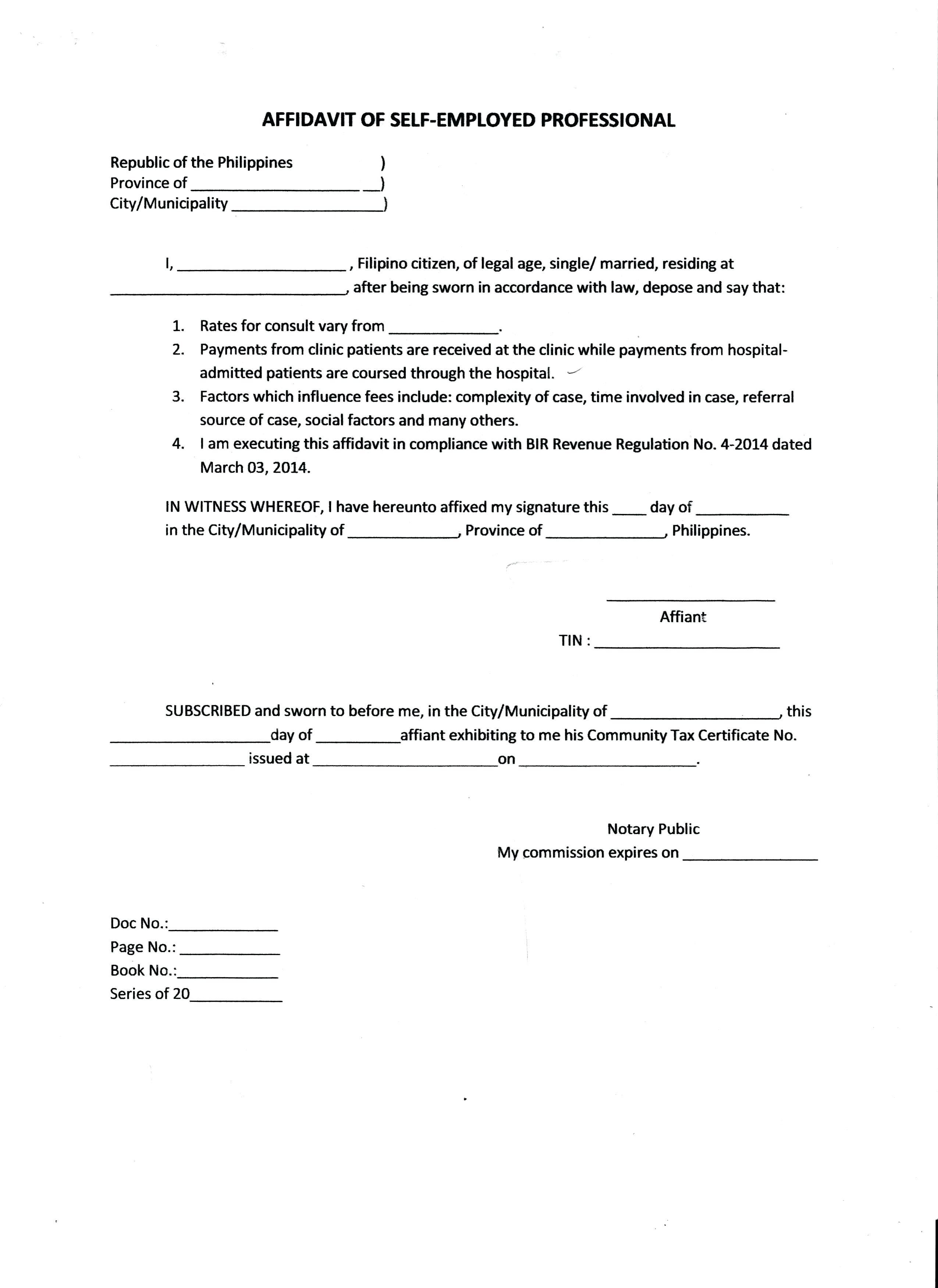 Affidavit For Child Custody Template