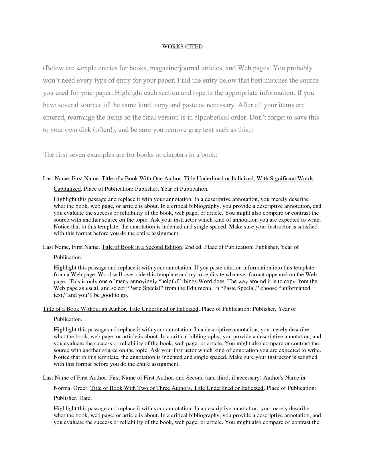 Annotated Bibliography Template Apa Format