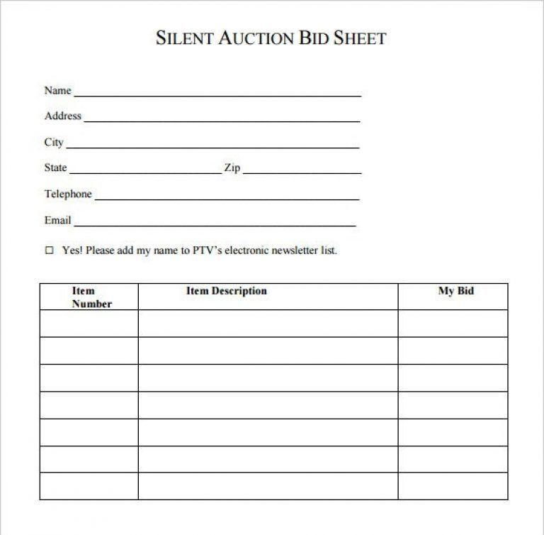 Auction Bid Sheet Template Free