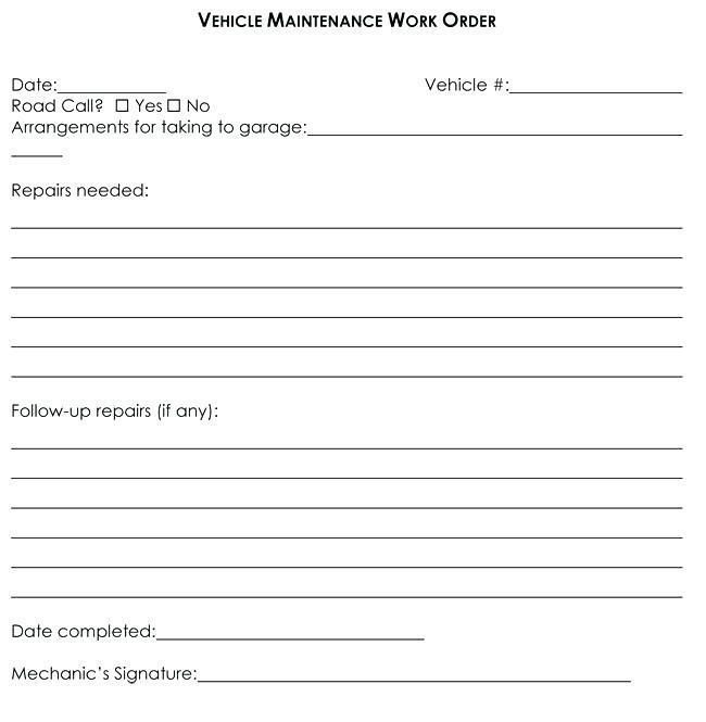 Auto Mechanic Work Order Template