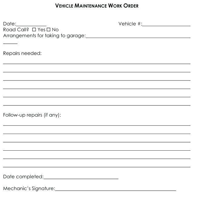 Auto Mechanic Work Order Template