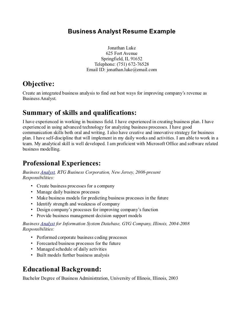 Bachelor Business Administration Resume Sample