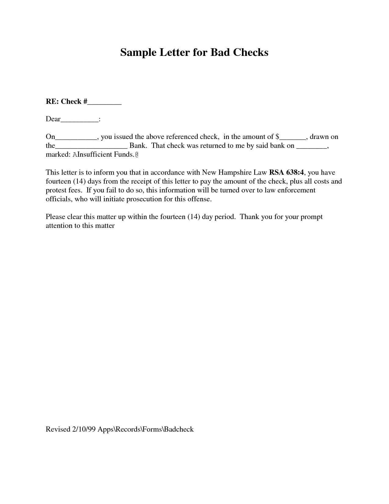 Bad Check Letter Template