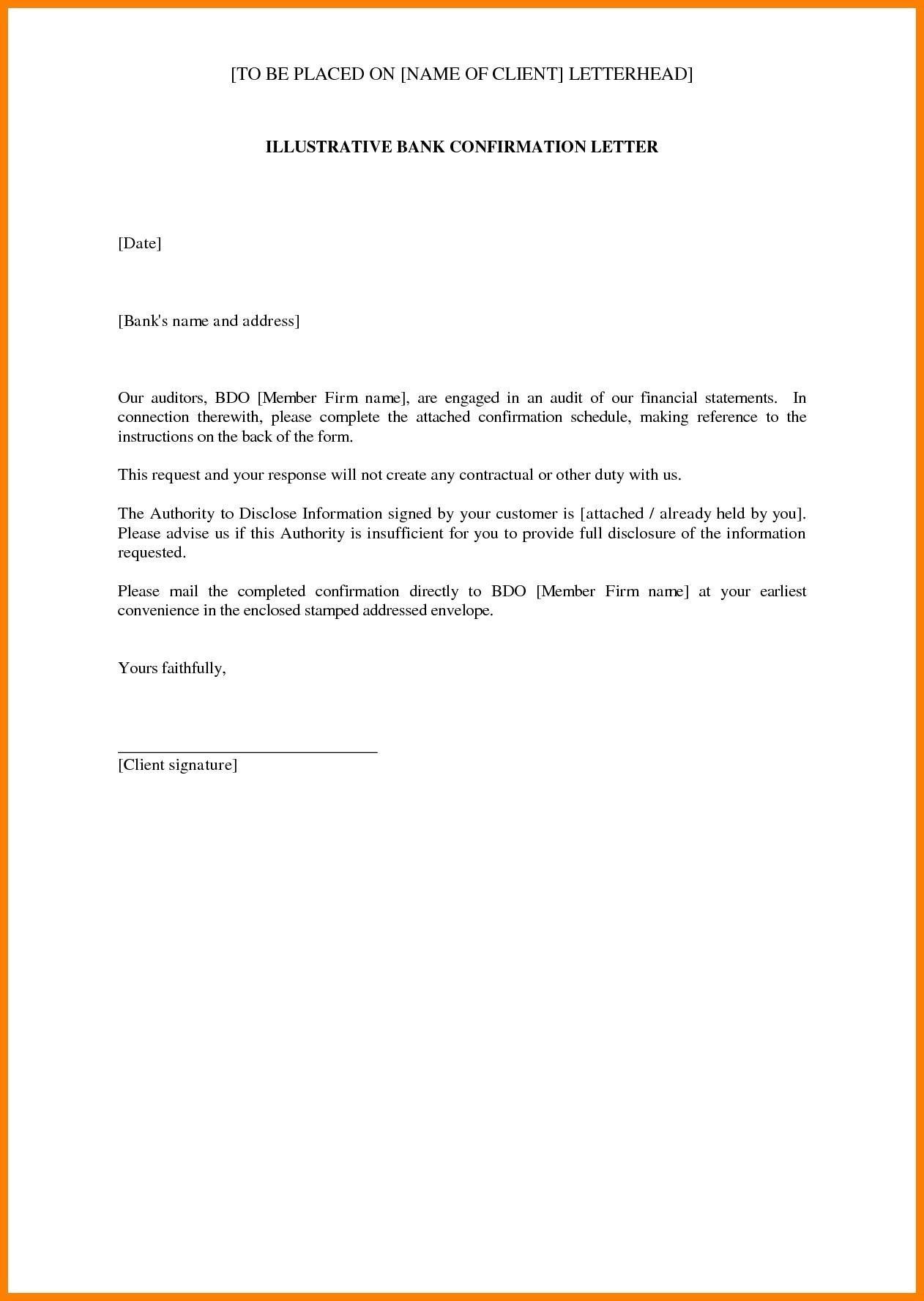 Bank Audit Confirmation Template