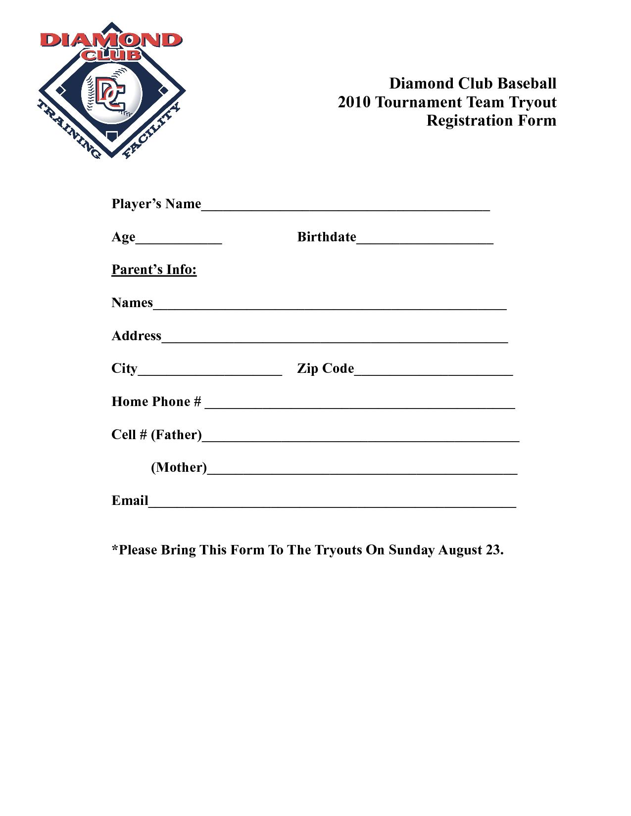Baseball Tournament Registration Form Template