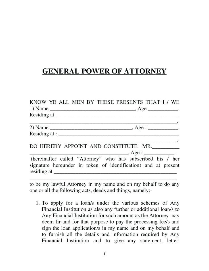 Basic Power Of Attorney Template