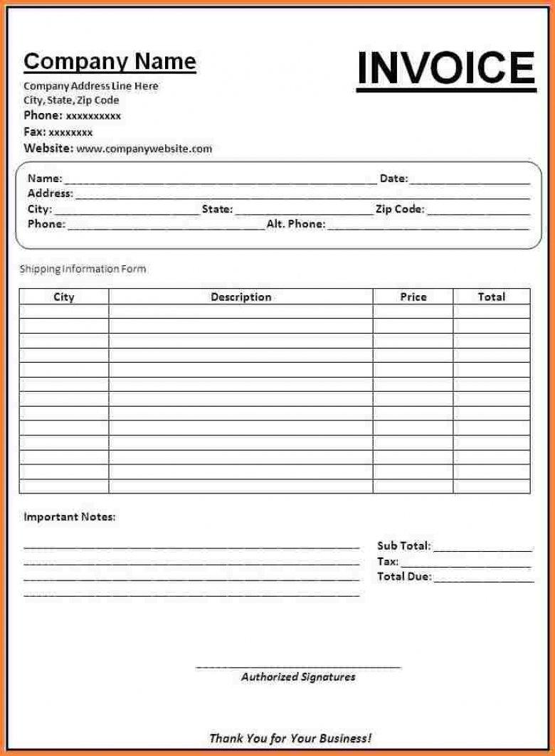 Bill Invoice Format Word