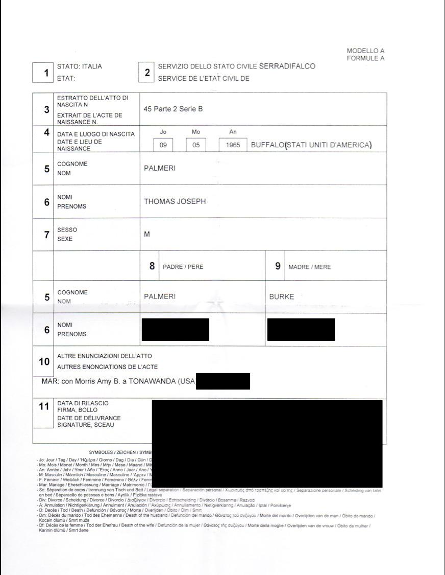Birth Certificate Translation Template Italian