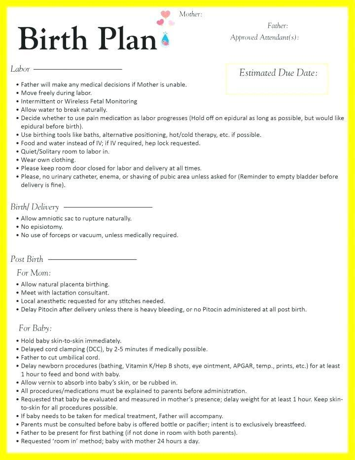 Birth Plan Template Word Document Uk