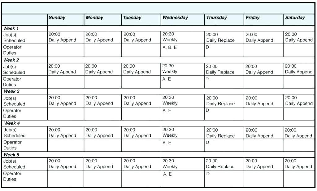 Blank Employee Schedule Form