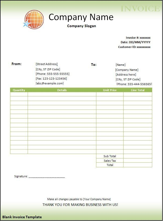 Blank Invoice Template Download Free