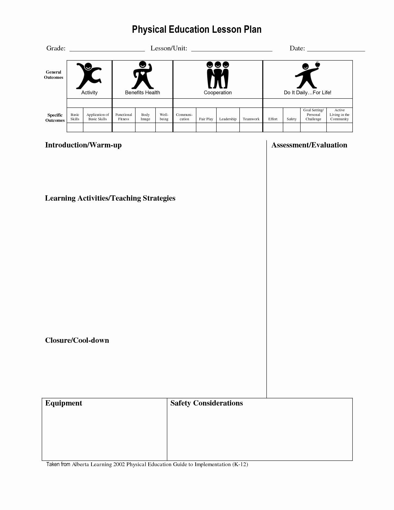 Blank Physical Education Lesson Plan Template